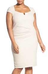 Marina Plus Size Women's Cutout Shimmer Sheath Dress Champagne