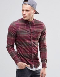 Element Buffalo Check Flannel Shirt In Regular Fit In Napa Red Buttondown Red