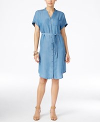 Styleandco. Style And Co. Petite Belted Denim Shirtdress Only At Macy's Sun Wash
