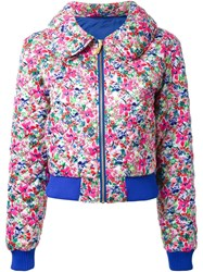 Dress Camp Floral Print Quilted Jacket Pink And Purple