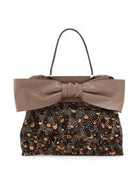 Valentino Leather Bow Satchel Bag Taupe Multi
