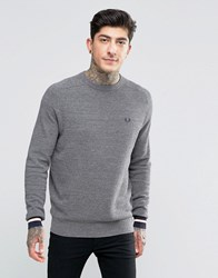 Fred Perry Jumper In Pique With Crew Neck In Steel Marl Steel Marl Grey