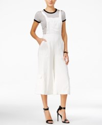 Guess Cropped Wide Leg Overalls Macadamia