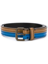 Tomas Maier Bicolour Buckle Belt Brown
