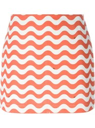 Au Jour Le Jour Wave Print Skirt Yellow And Orange