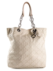 Christian Dior Vintage 'Cannage' Soft Shopper Tote White