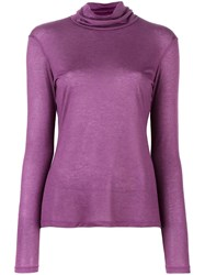 Les Copains Fine Knit Roll Neck Jumper Pink Purple