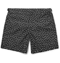 Dolce And Gabbana Mid Length Slim Fit Printed Swim Shorts Black