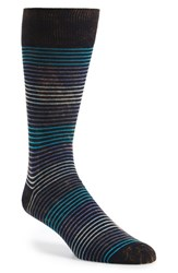 Men's Lorenzo Uomo 'Quad Stripe' Socks Blue 3 For 30 Navy