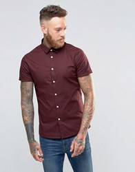 Asos Skinny Shirt In Dark Plum With Short Sleeves Dark Plum Purple