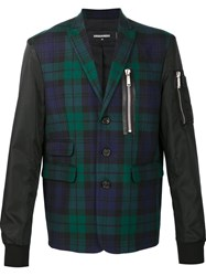 Dsquared2 Mixed Material Tartan Bomber Black