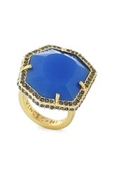Women's Vince Camuto Pave Border Ring Gold Blue