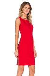Milly Double Crepe Zip Sheath Dress Red