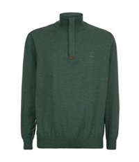 Paul And Shark Suede Trim Zip Neck Sweater Green
