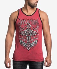 Affliction Men's Spiker Impact Reversible Tank Top Black Red Lava