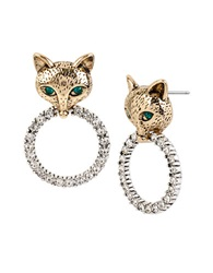 Betsey Johnson Fox And Pave Ring Drop Earrings Two Tone