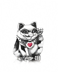 Pandora Design Pandora Charm Sterling Silver And Enamel Lucky Cat Moments Collection Silver Red