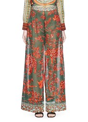 Valentino Tribal Rhinoceros Print Wide Leg Pants Multi Colour