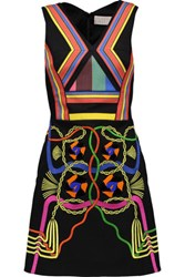 Peter Pilotto Hendrix Embellished Crepe De Chine And Cotton Canvas Mini Dress Black