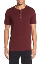 Vince Men's Cotton Henley Oxblood Red
