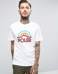 Poler T Shirt With Large Rainbow Logo White