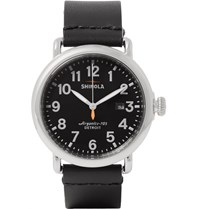 Shinola The Runwell Stainless Steel And Leather Watch 41Mm Black