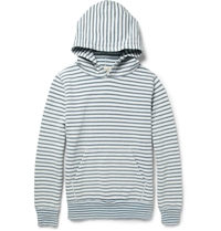 Remi Relief Striped Loopback Cotton Jersey Hoodie Blue