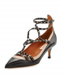 Valentino Leather Strappy Ankle Pump Black