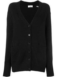 Saint Laurent Distressed Knit Cardigan Black