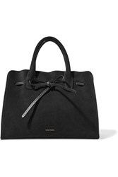 Mansur Gavriel Sun Leather Trimmed Suede Tote Black
