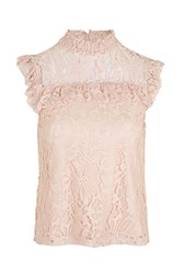 Topshop Lace Ruffle Shell Top Pink