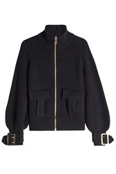 Burberry London Zipped Wool Cardigan With Cashmere Black