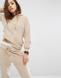 Criminal Damage Velour Hoodie Co Ord Nude Beige