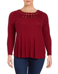 Jessica Simpson Plus Cutout Ribbed Long Sleeve Hi Lo Top Biking Red