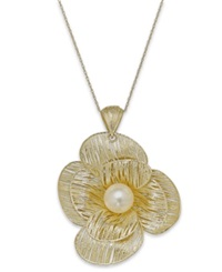 Macy's Cultured Freshwater Pearl Flower Pendant Necklace In 18K Gold Over Sterling Silver 8Mm Black