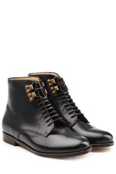 A.P.C. Leather Lace Up Ankle Boots Black
