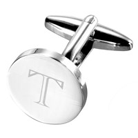 John Lewis Round Initial Single Cufflink Silver