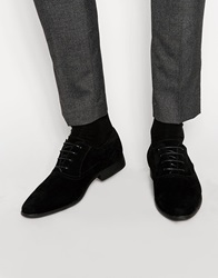 Asos Oxford Shoes In Black Faux Suede