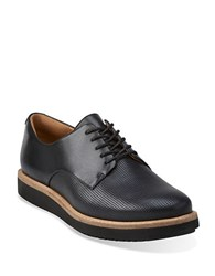 Clarks Glick Darby Platform Leather Oxfords Black