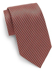 Saks Fifth Avenue Neat Check Silk Tie Coral Grey