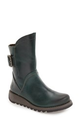 Fly London Women's 'Sien' Moto Boot Petrol Rug Leather