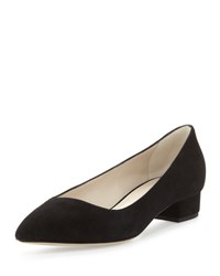 Giorgio Armani Asymmetric Point Toe Suede Low Heel Pump Black