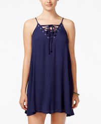 Trixxi Juniors' Lace Up Textured Shift Dress Navy
