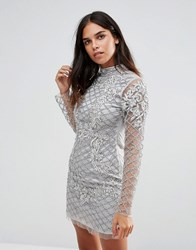 A Star Is Born High Neck Long Sleeve Heavily Embellished Dress Silver