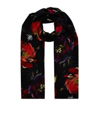 Eskandar Floral Silk Scarf Female Black