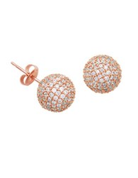 Lord And Taylor White Sapphire Ball Stud Earrings Rose Gold