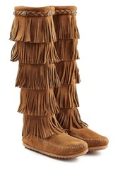 Minnetonka Fringed Suede Knee Boots With Studs Gr. 9