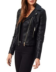 Miss Selfridge Faux Leather Moto Stitch Biker Jacket Black