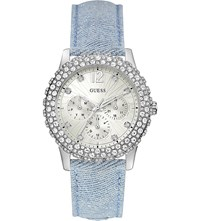 Guess Dazzler Stainless Steel And Denim Watch W0336l7