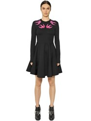 Mcq By Alexander Mcqueen Embroidered Swallows Jersey Dress
